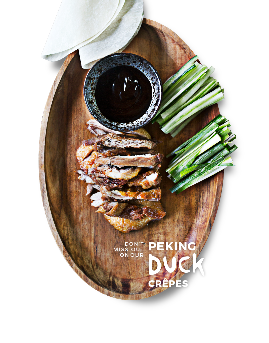 Try our Peking duck crepes!